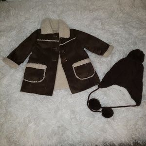 Shearling style coat with hat